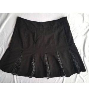 Worthington A-Line Skirt Lace Inserts Flare Hem 12